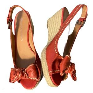 Franco Sarto Red Leather Wedges - Women's Size 7